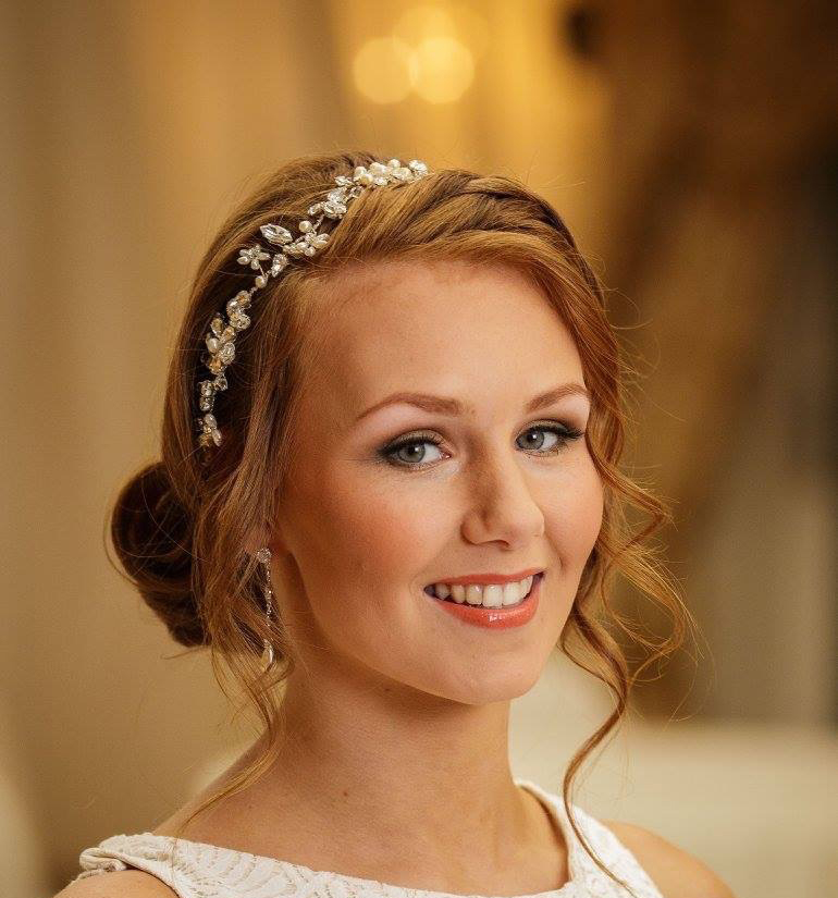 pearl and crystal wedding hairvine on red-haired bride