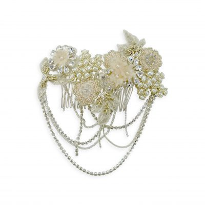 Hand beaded blush wedding headpiece