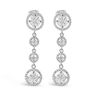 Long vintage style wedding earrings