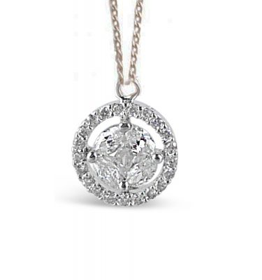 Petite circles crystal and rhodium round pendant