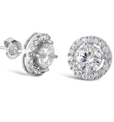 Petite circles crystal stud earrings