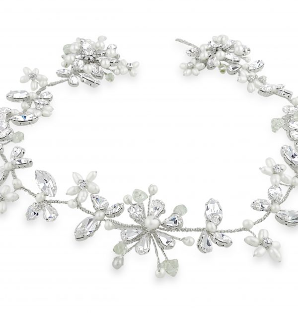 pearl and crystal wedding halo on blond bride