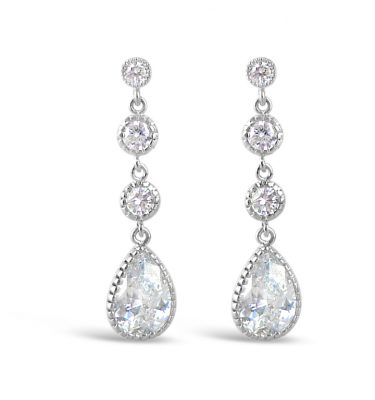 crystal wedding earring with two rounds and a teardrop drop