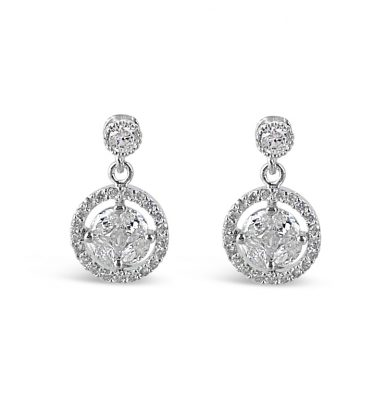 Petite circle crystal wedding earrings