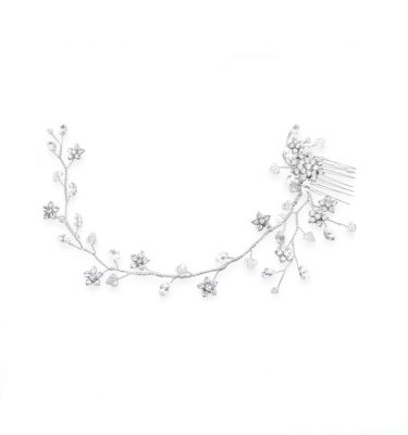 crystal wedding hairvine with little flowers