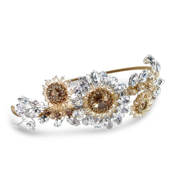 hand beaded side wedding headband with champagne colours
