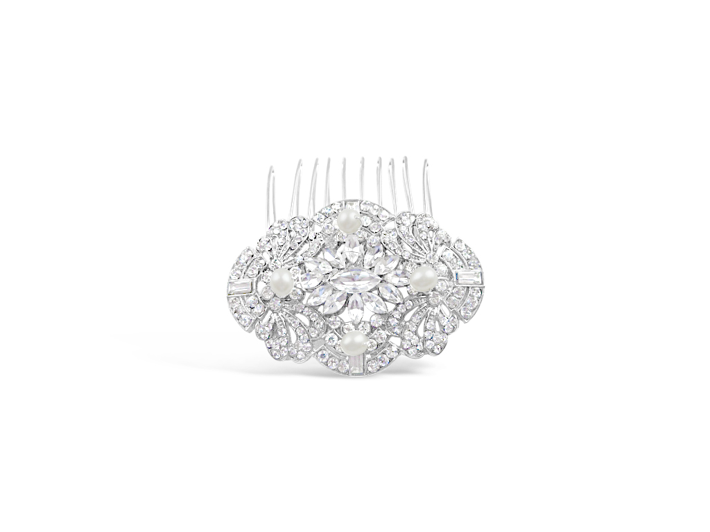 a vintage style, art deco wedding hair comb