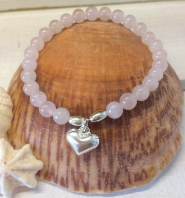rose quartz and sterling silver heart bracelet