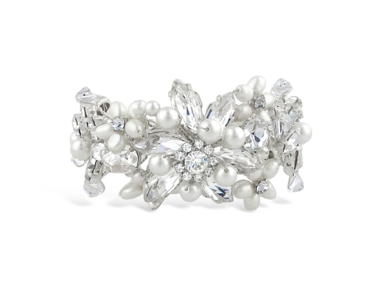 A pearl and crystal floral wedding cuff