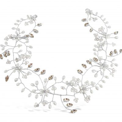 A pearl and crystal wedding hairvine