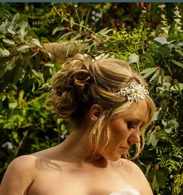 Bride with opal side headpiece