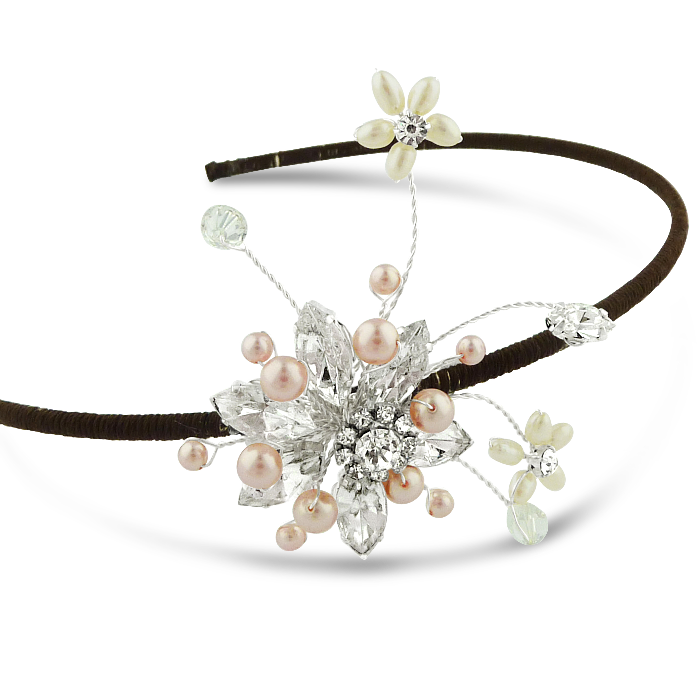 A simple bridesmaids headband with a crystal flower and pink pearls