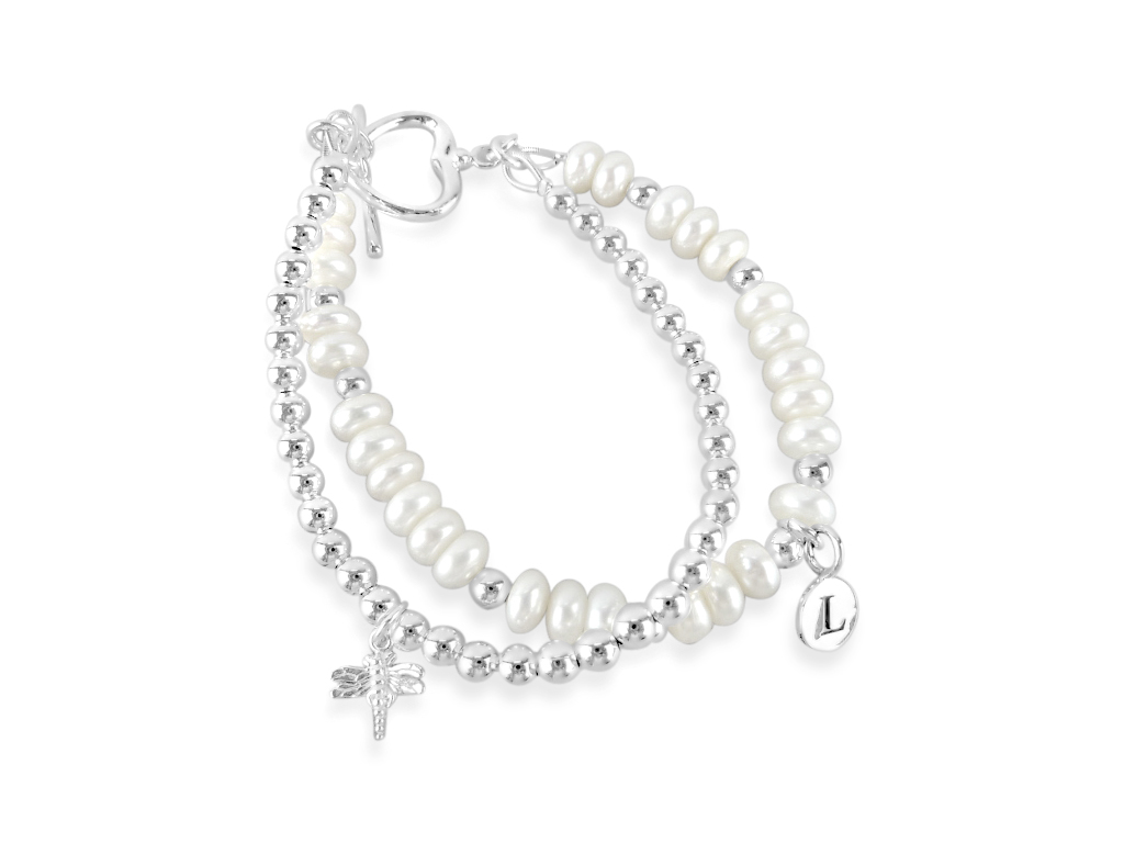 2 row personalised pearl and bead bracelet