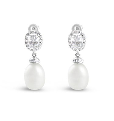 wedding earrings with a pearl dropped crystal oval top