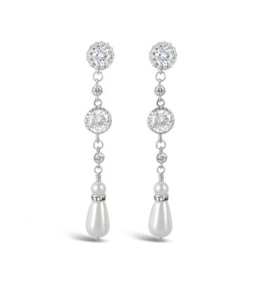 long crystal earrings with pearl drop