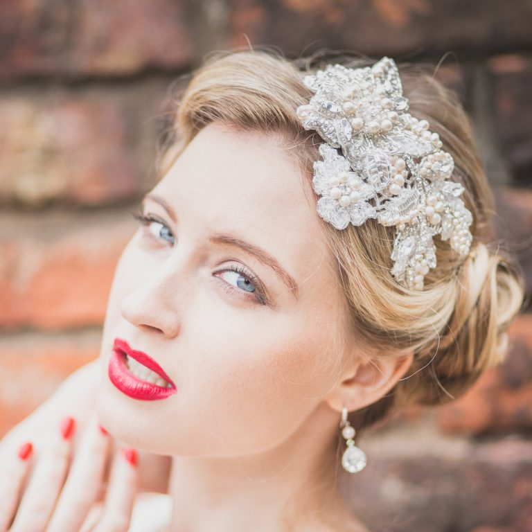 Beaded wedding headband on lace