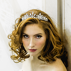 vintage navette tiara on model with red hair