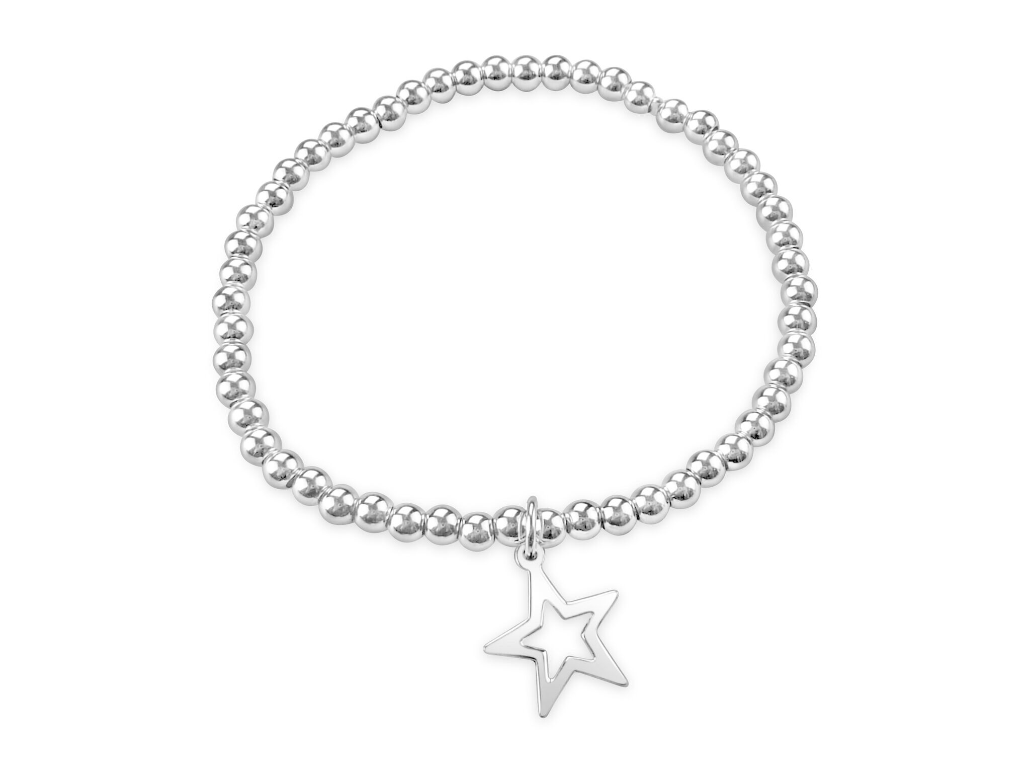 Silver ball bead bracelet with heart charm