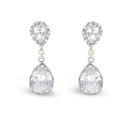 cz pear bling clip on jewelry az rhodium plated bridal earrings drop my brass