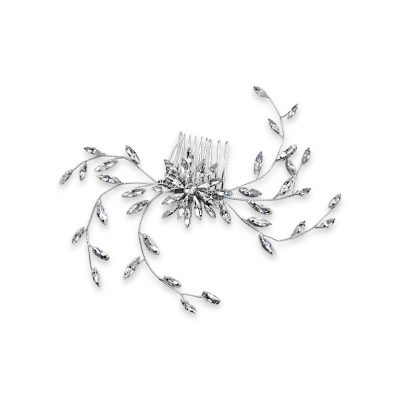 A vintage style crystal haircomb with spray navettes