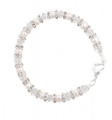 pearl and crystal wedding bracelet