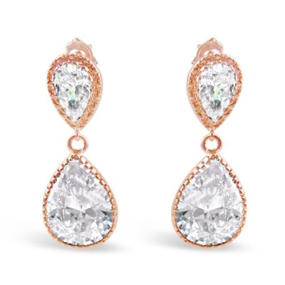 Large pearl drop crystal earring in rose gold