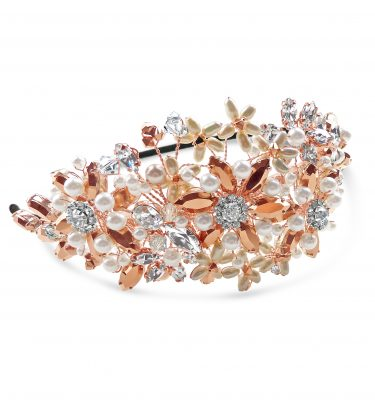 Side wedding headband with rose gold crystal and pearl flowers