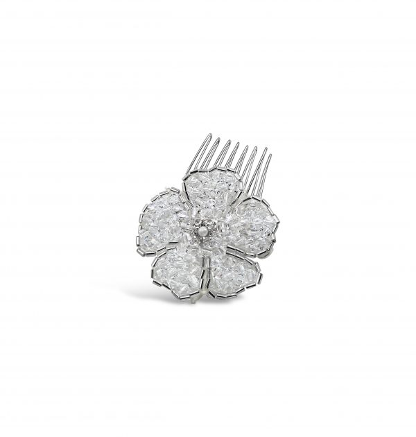 crystal hand beaded bridal flower comb