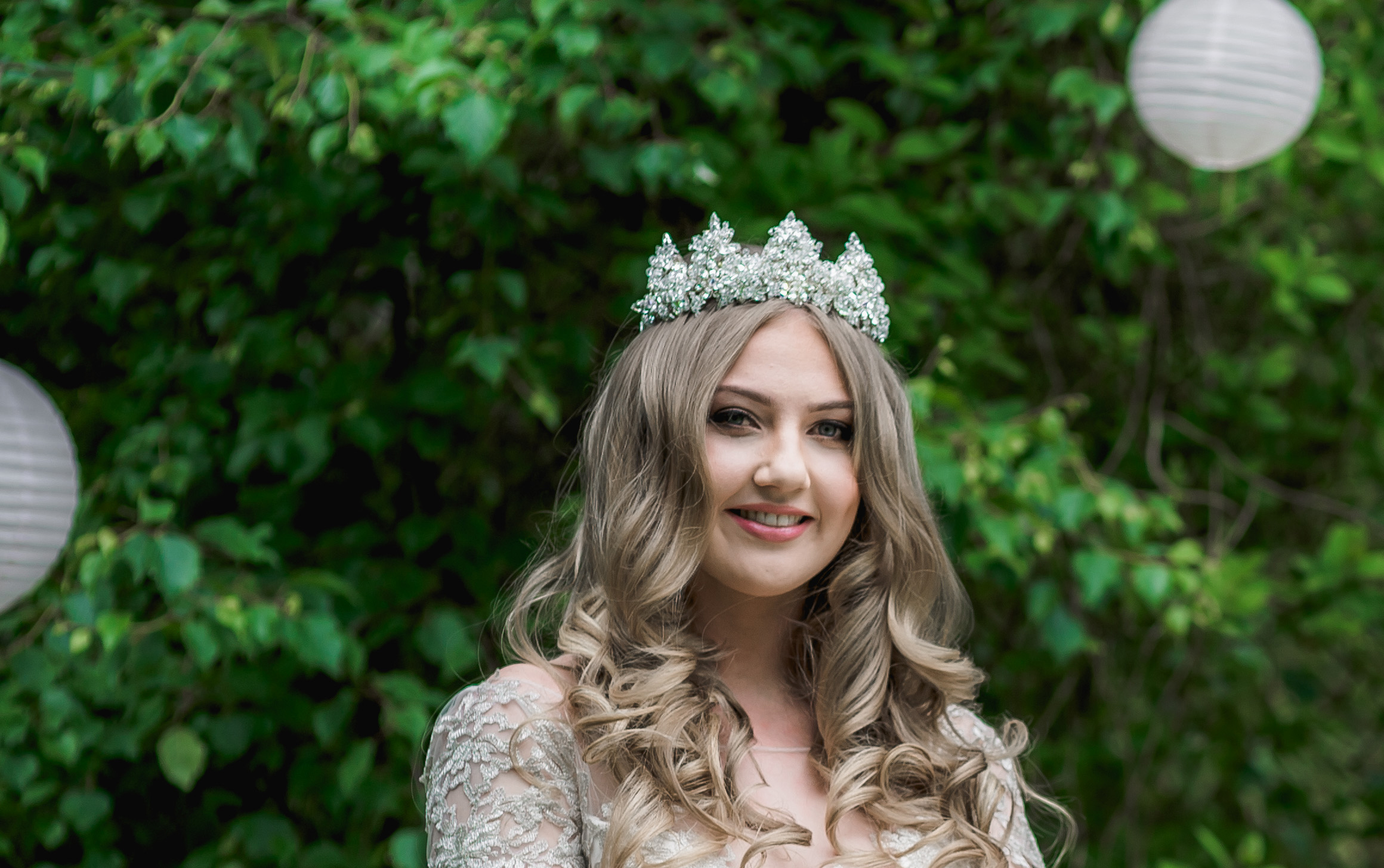 large crystal bridal crown on long hair bride