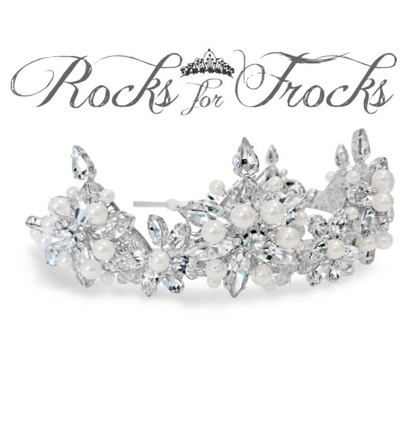 Pearl and crystal wedding crown