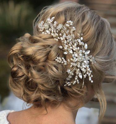 Large bridal crystal and pearl haircomb