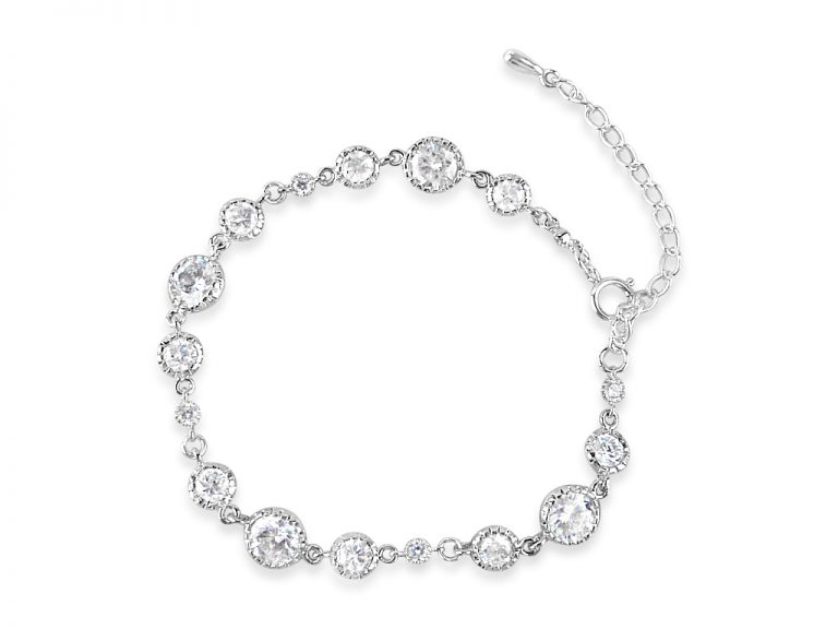 Crystal bracelet with round rhodium plated links for a bride