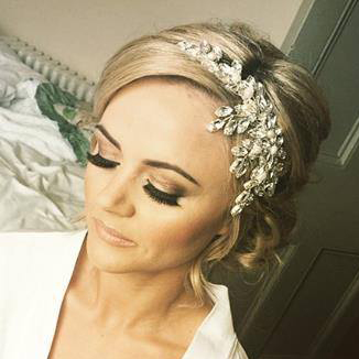 esme Swarovski crystal side wedding headpiece