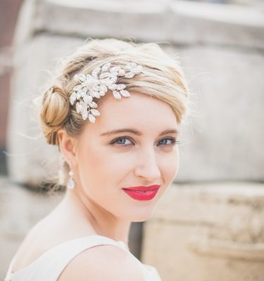 Swarovski crystal side wedding brides headpiece