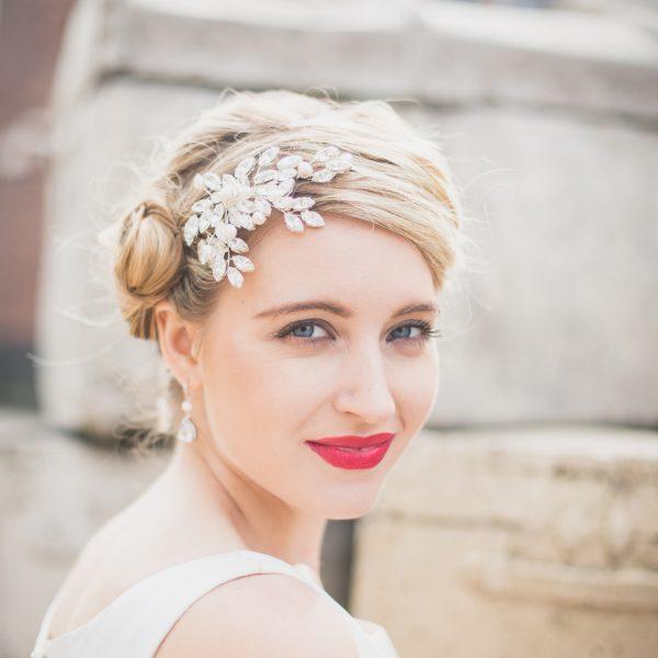 Swarovski crystal side wedding brides headpiece