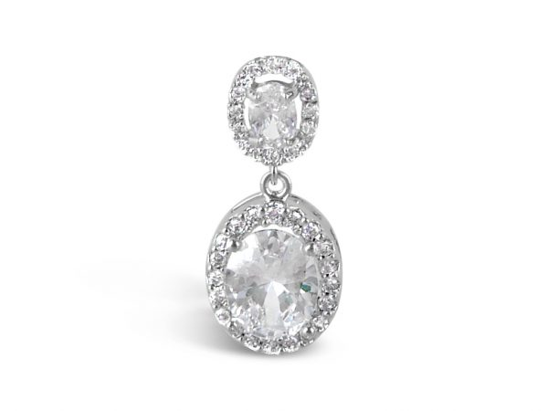 Oval two drop crystal wedding earrings in silver