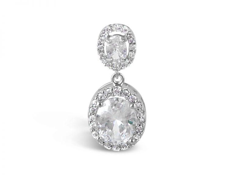 Oval two drop crystal wedding earrings in silver