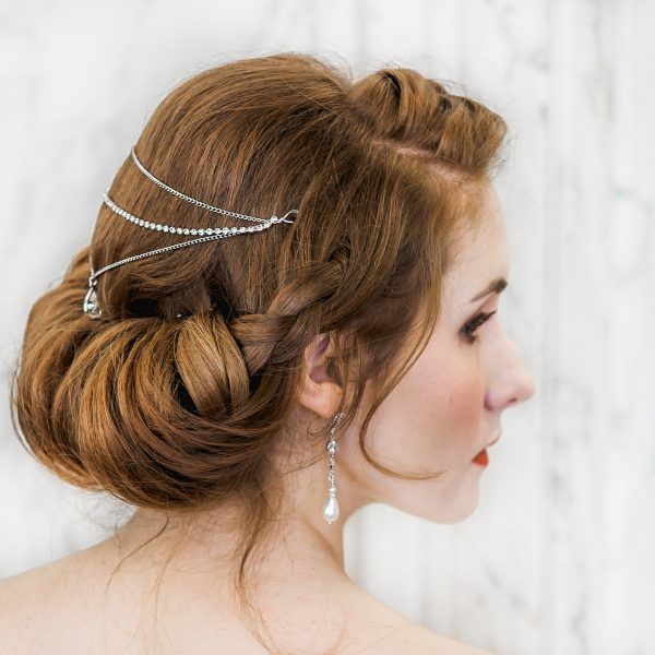 Teardrop 3 row draped headpiece on bride with red hair