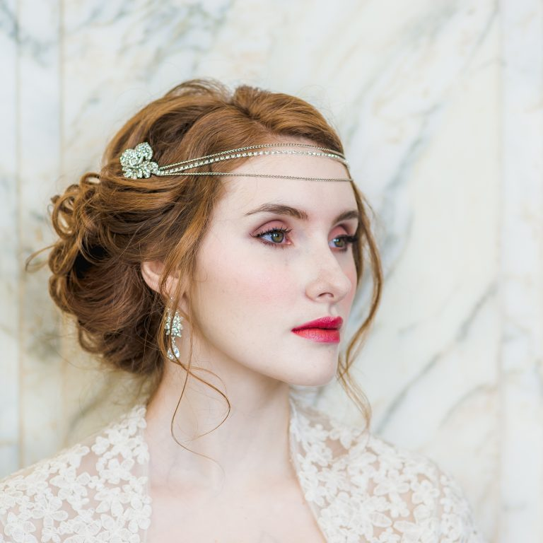 Bridal headpiece with roses