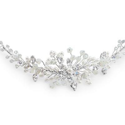 Crystal and pearl bridal hairvine