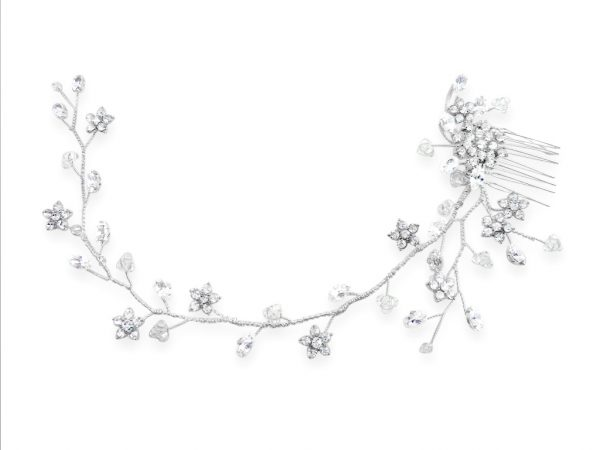 a crystal bridal hairvine with side comb and little flowers