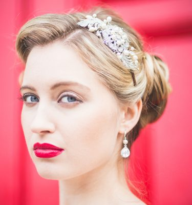 Vintage style bridal headpiece on a head