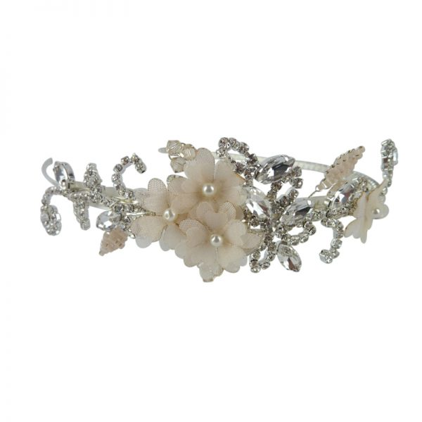 Bridal side headpiece with blush flowers