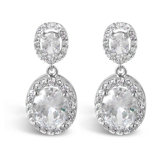 Oval crystal wedding earrings in silver