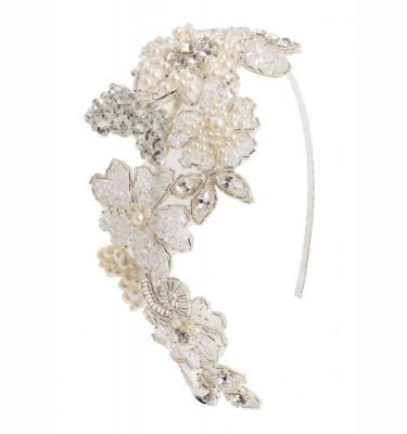 lace beaded headband with pearls and swarovski crystal