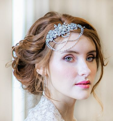 Bridal vintage style headpiece with drapes