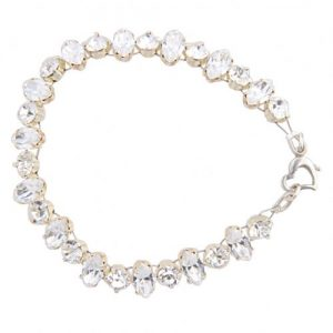 crystal bracelet with swarovski navettes and a heart clasp