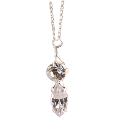 crystal navette pendant on a sterling silver chain