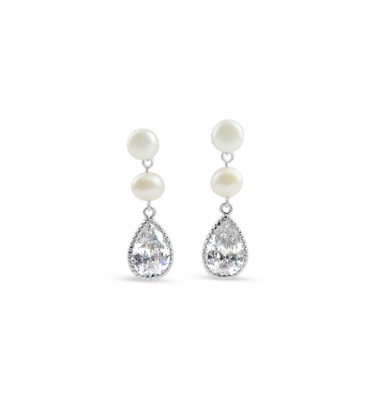 Bridal earrings with two pearls and a crystal peardrop