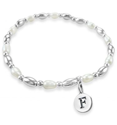 Sterling silver and pearl stacker bracelet